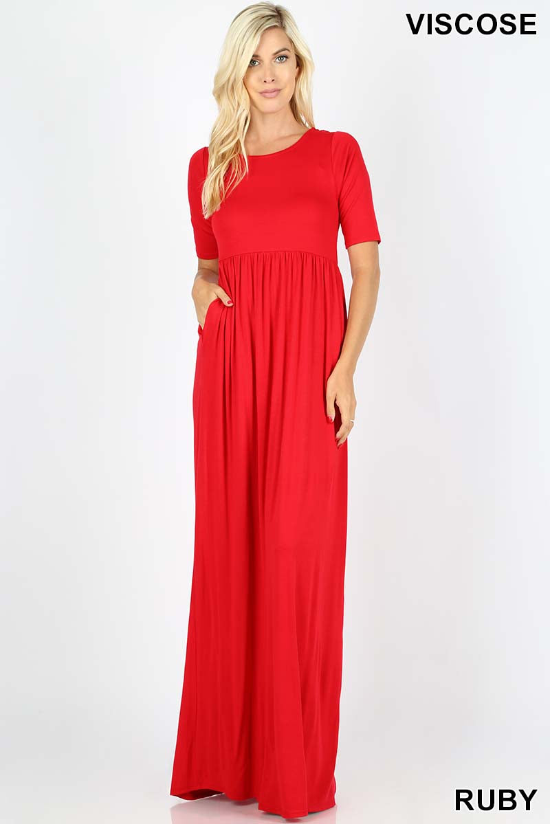 VISCOSE HALF SLEEVE MAXI DRESS - Zenana Outfitters Women's Clothing