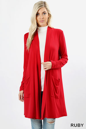 SLOUCHY POCKET OPEN CARDIGAN - Zenana Outfitters Women's Clothing