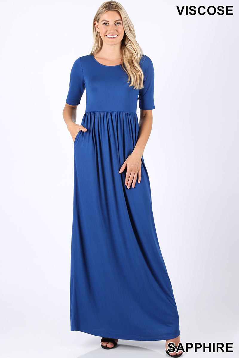 VISCOSE HALF SLEEVE MAXI DRESS
