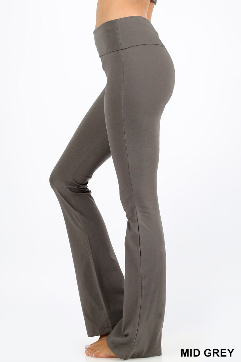 PREMIUM COTTON FOLD OVER YOGA FLARE PANTS