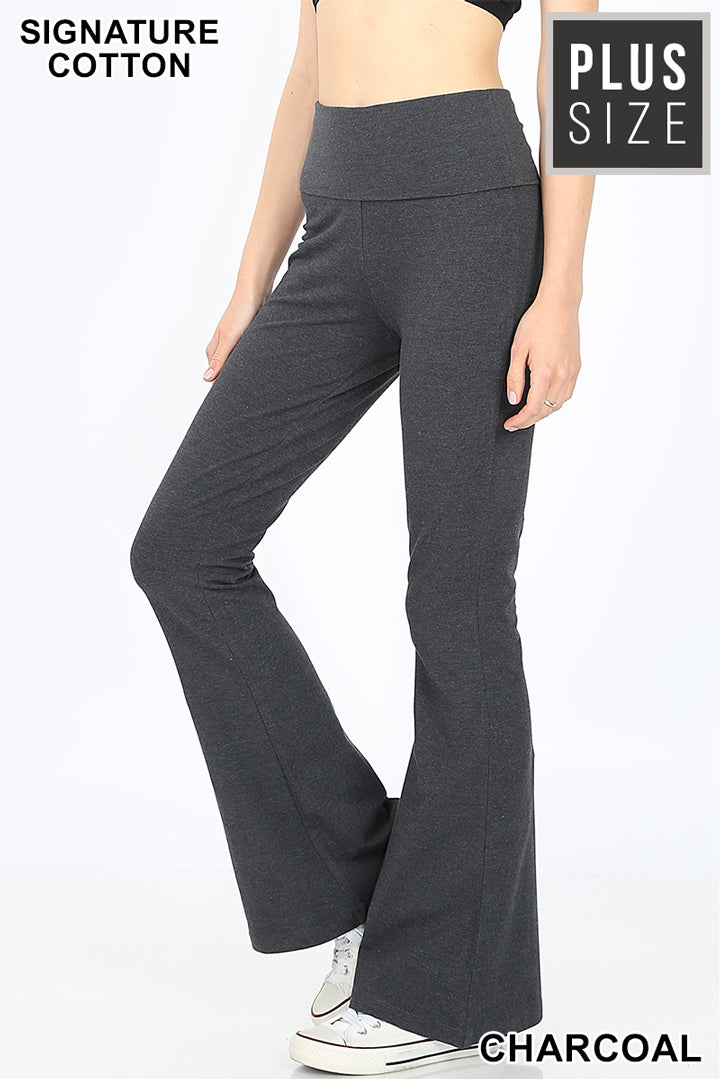 PLUS COTTON FOLD-OVER FLARE YOGA PANTS - Zenana Outfitters Women's Clothing