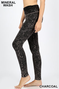 MINERAL WASHED FOLD OVER WAIST YOGA LEGGINGS - Zenana Outfitters Women's Clothing