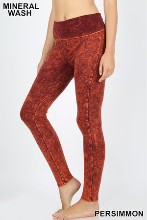 MINERAL WASHED FOLD OVER WAIST YOGA LEGGINGS