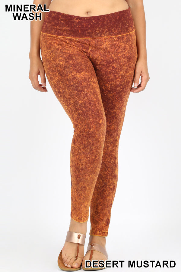 PLUS MINERAL WASHED FOLD OVER WAIST YOGA LEGGINGS - Zenana Outfitters Women's Clothing