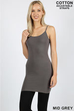 LONGLINE BODYCON CAMI WITH ADJUSTABLE STRAP - Zenana Outfitters Women's Clothing