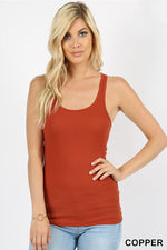 STRETCHY RIBBED KNIT RACERBACK TANK