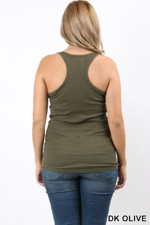 PLUS SIZE RACER BACK COTTON RIB TANK