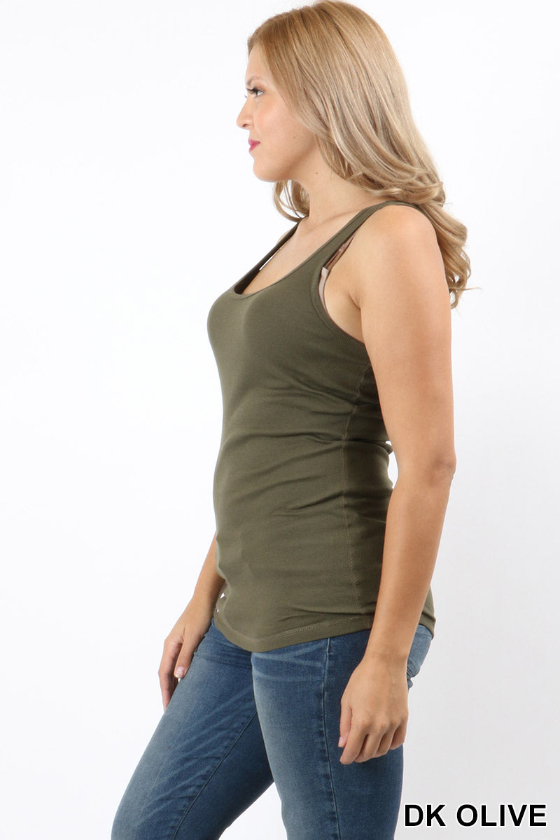 PLUS SIZE RACER BACK COTTON RIB TANK - Zenana Outfitters Women's Clothing