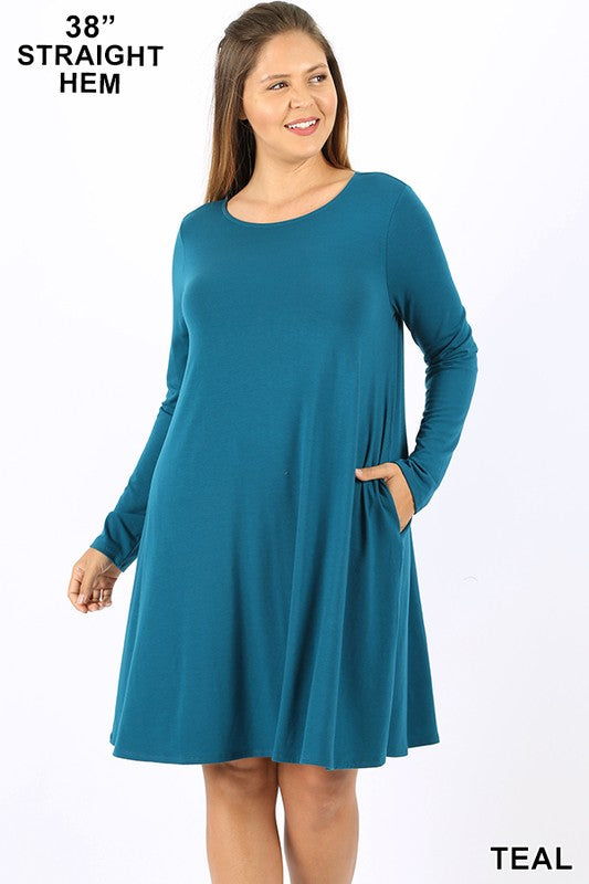 PLUS PREMIUM LONG SLEEVE FLARE DRESS WITH POCKETS