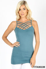 SEAMLESS TRIPLE CRISS-CROSS FRONT CAMI - Zenana Outfitters Women's Clothing