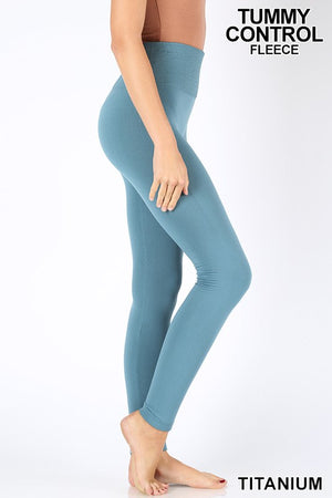 TUMMY-CONTROL FLEECE HIGH WAIST SEAMLESS LEGGINGS