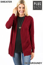 PLUS OPEN CARDIGAN SWEATER - Zenana Outfitters