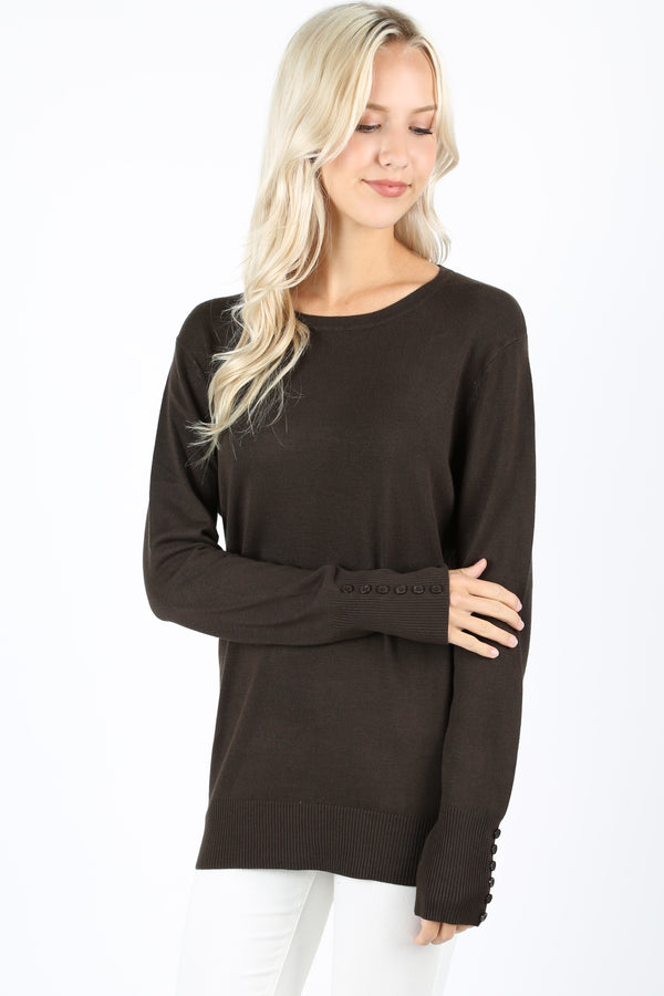 ROUND NECK SWEATER WITH SLEEVE BUTTON DETAIL - Zenana Outfitters Women's Clothing