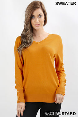 SLEEVE BUTTON DETAIL V NECK SWEATER - Zenana Outfitters Women's Clothing
