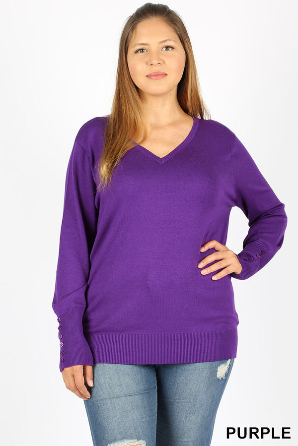 PLUS SLEEVE BUTTON DETAIL V NECK SWEATER - Zenana Outfitters Women's Clothing