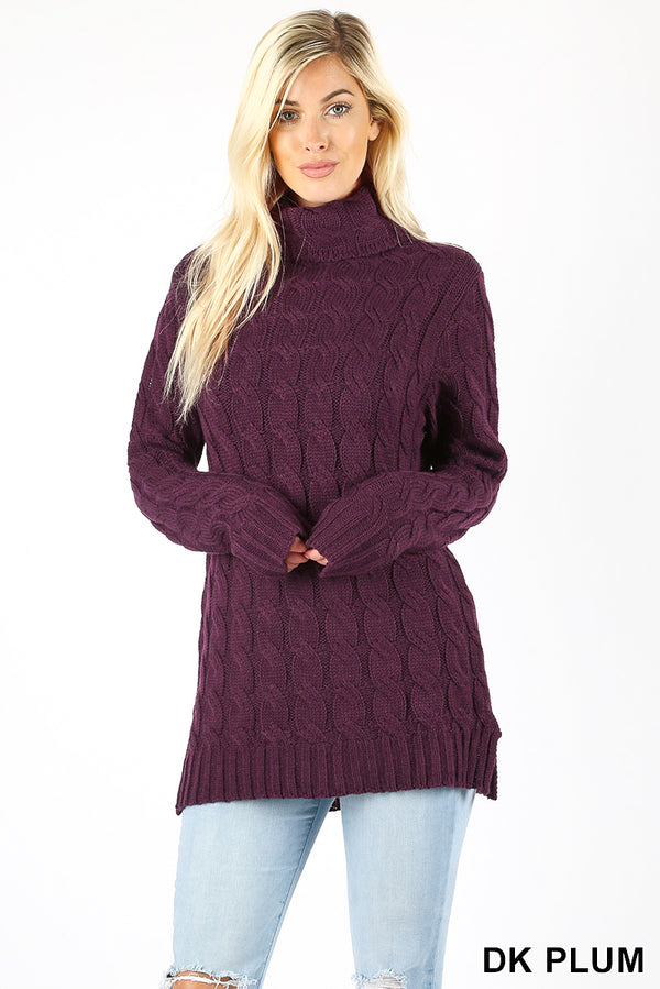 CABLE KNIT SWEATER WITH TURTLE NECK AND SIDE SLITS - Zenana Outfitters Women's Clothing