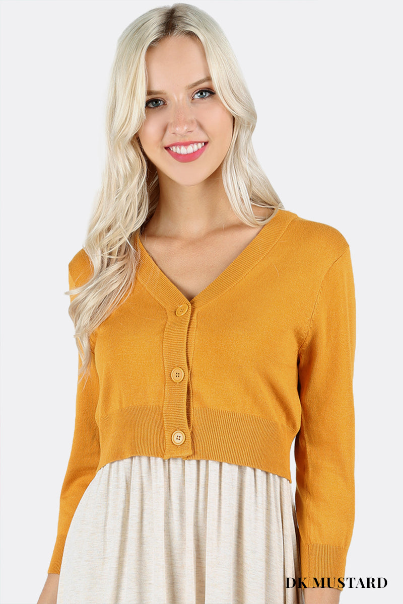 3/4 SLEEVE BOLERO SWEATER CARDIGAN