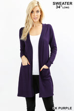 PLUS OPEN CARDIGAN SWEATER WITH POCKETS