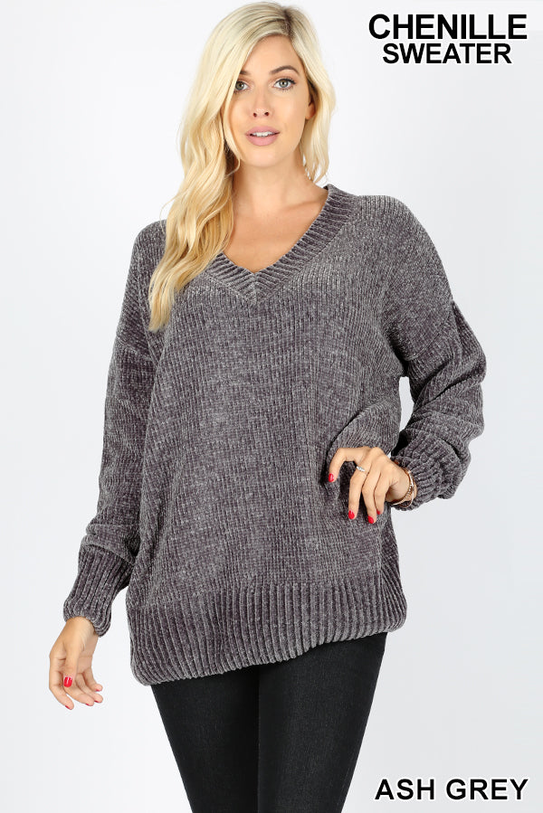 LONG SLEEVE V-NECK CHENILLE SWEATER - Zenana Outfitters Women's Clothing