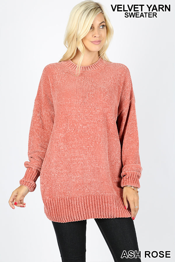 OVER SIZED ROUND NECK CHENILLE SWEATER - Zenana Outfitters Women's Clothing