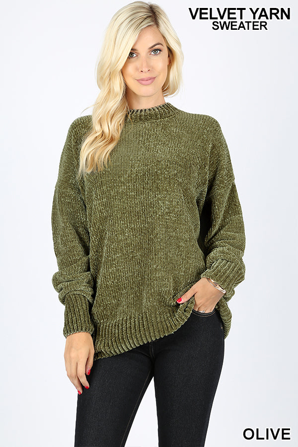 LONG SLEEVE ROUND NECK VELVET YARN SWEATER