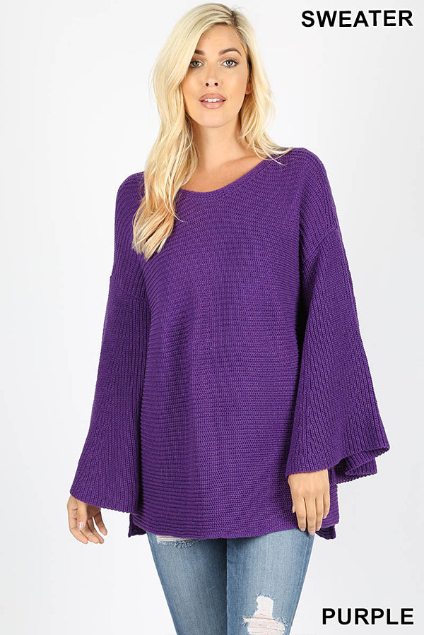 BELL SLEEVE SWEATER LOOSE FIT - Zenana Outfitters Women's Clothing