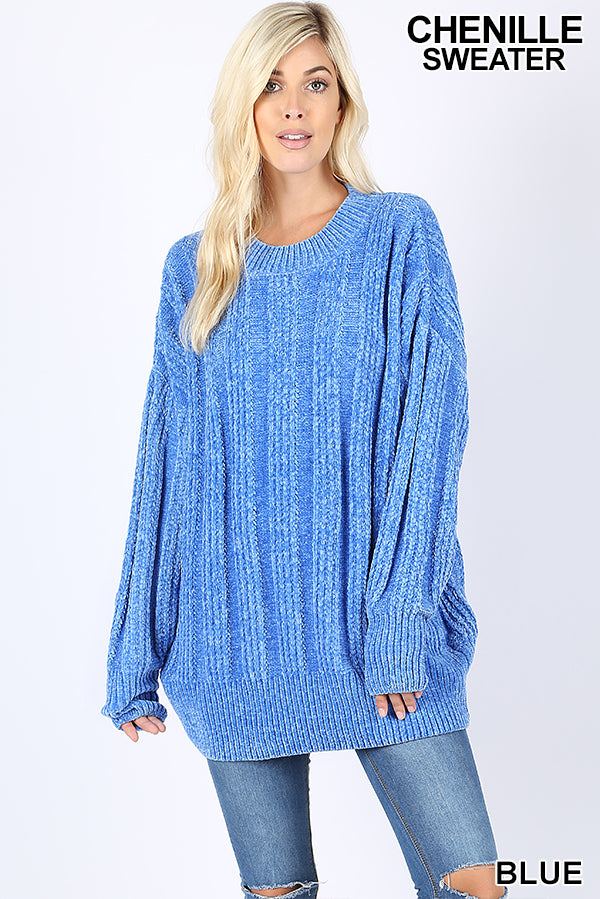 OVER SIZED CABLE KNIT ROUND NECK CHENILLE SWEATER - Zenana Outfitters Women's Clothing