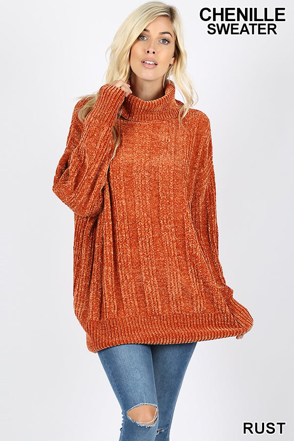 OVER SIZED CABLE KNIT CHENILLE  SWEATER WITH TURTLE NECK - Zenana Outfitters Women's Clothing