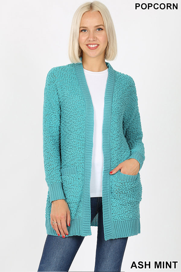 POPCORN CARDIGAN WITH POCKETS - Zenana Outfitters Women's Clothing