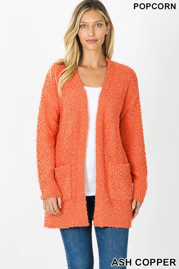LONG SLEEVE POPCORN CARDIGAN WITH POCKETS - Zenana Outfitters Women's Clothing