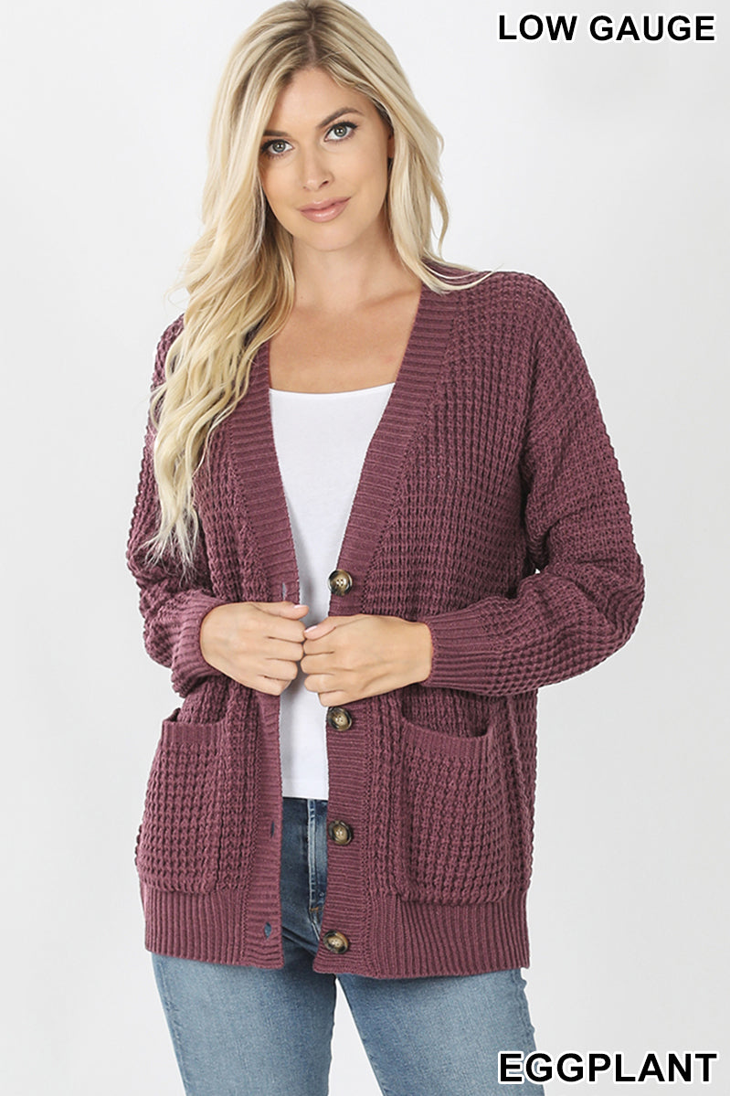 WAFFLE CARDIGAN SWEATER WITH POCKETS - Zenana Outfitters Women's Clothing