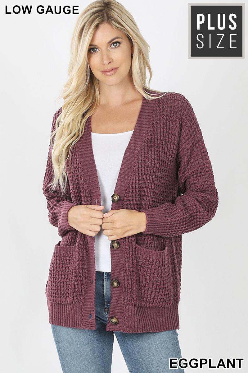 PLUS WAFFLE CARDIGAN SWEATER WITH POCKETS - Zenana Outfitters Women's Clothing