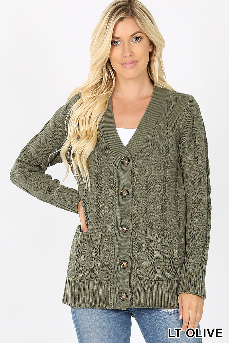 CABLE SWEATER WITH POCKETS - Zenana Outfitters Women's Clothing