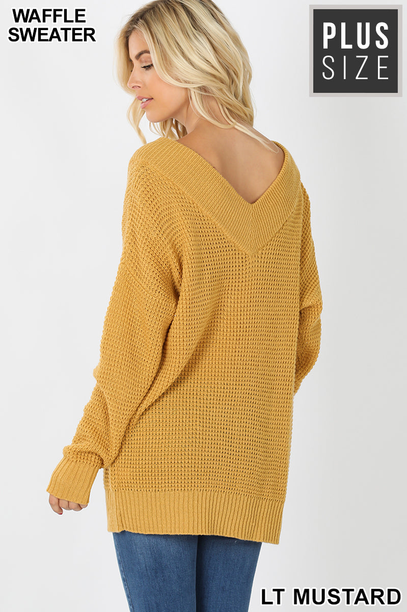 PLUS WIDE DOUBLE V-NECK WAFFLE SWEATER - Zenana Outfitters Women's Clothing