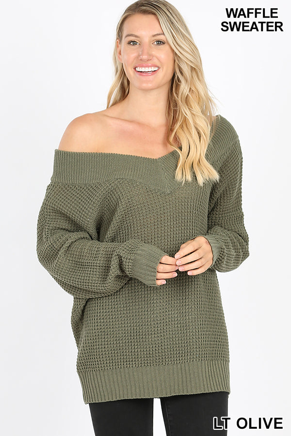 LONG SLEEVE WIDE DOUBLE V-NECK WAFFLE SWEATER - Zenana Outfitters Women's Clothing