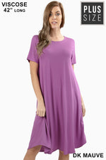 PLUS VISCOSE SHORT SLEEVE ROUND NECK DRESS - Zenana Outfitters Women's Clothing
