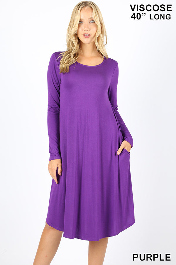VISCOSE LONG SLEEVE ROUND NECK KNEE LENGTH DRESS - Zenana Outfitters Women's Clothing