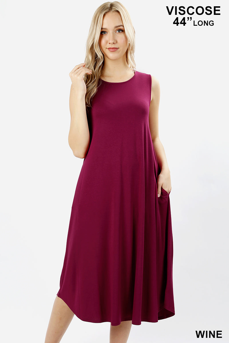 VISCOSE SLEEVELESS ROUND NECK DRESS WITH SIDE POCKETS - Zenana Outfitters Women's Clothing