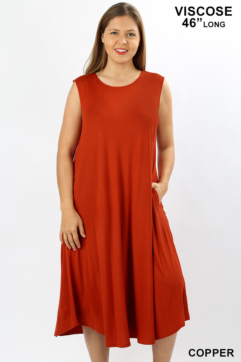 PLUS VISCOSE SLEEVELESS ROUND NECK DRESS - Zenana Outfitters Women's Clothing