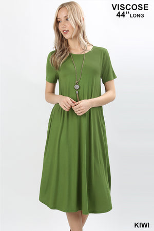 VISCOSE SHORTSLEEVE ROUND NECK POCKET DRESS