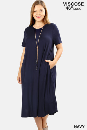 PLUS VISCOSE SHORTSLEEVE ROUND NECK POCKET DRESS