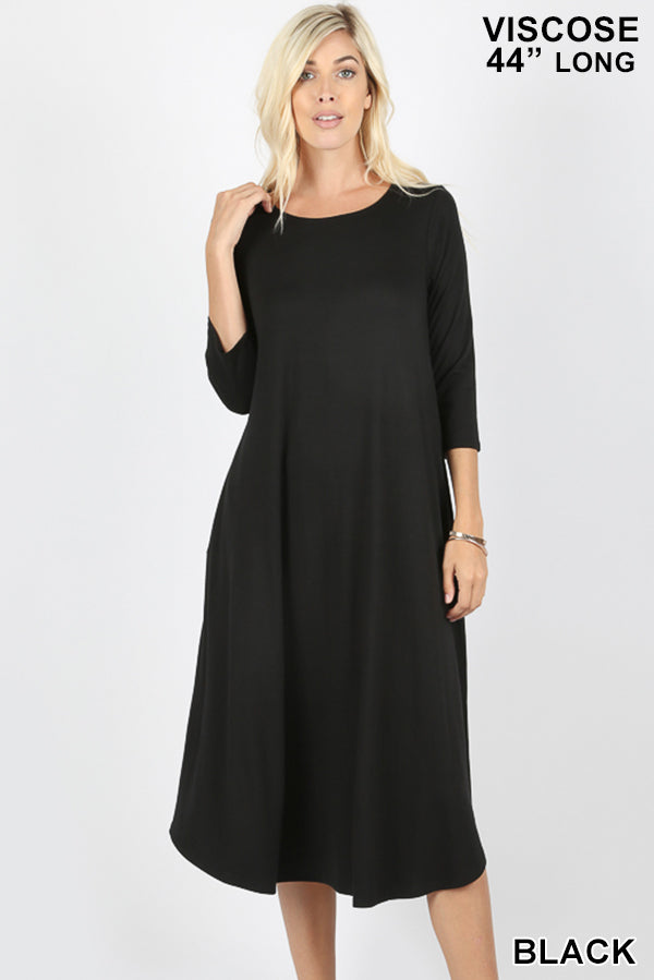 VISCOSE 3/4 SLEEVE ROUND NECK POCKET DRESS - Zenana Outfitters Women's Clothing