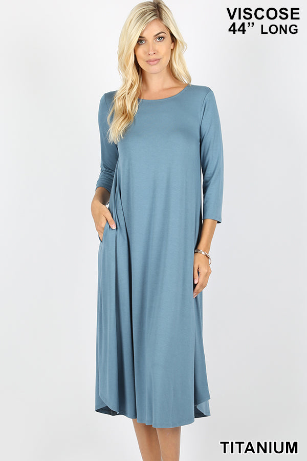 VISCOSE 3/4 SLEEVE ROUND NECK POCKET DRESS