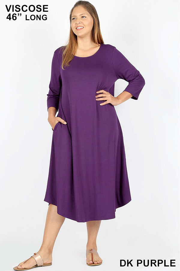 PLUS VISCOSE 3/4 SLEEVE ROUND NECK POCKET DRESS - Zenana Outfitters Women's Clothing