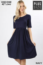 PLUS VISCOSE 1/2 SLEEVE WAIST SHIRRING ROUND NECK DRESS - Zenana Outfitters Women's Clothing