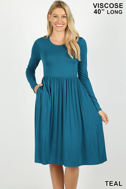 VISCOSE LONG SLEEVE ROUND NECK DRESS - Zenana Outfitters Women's Clothing