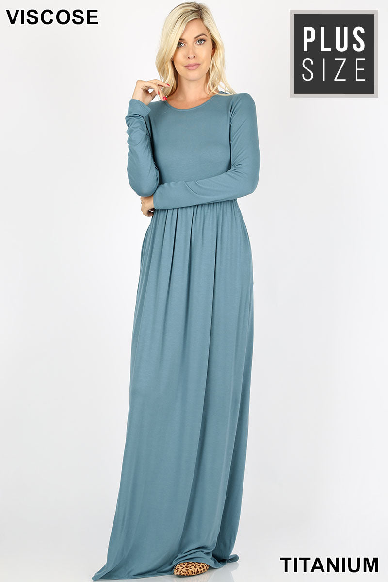 PLUS VISCOSE LONG SLEEVE ROUND NECK MAXI DRESS - Zenana Outfitters Women's Clothing