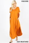 VISCOSE SIDE SLIT V-NECK SHORT SLEEVE MAXI DRESS | Zenana Outfitters