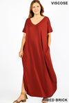 PLUS VISCOSE SIDE SLIT V-NECK MAXI DRESS - Zenana Outfitters Women's Clothing