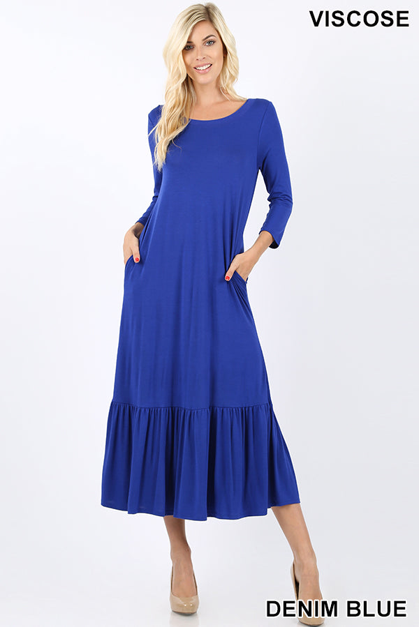 VISCOSE 3/4 SLEEVE RUFFLE HEM LONG DRESS